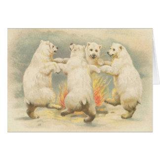 Cute vintage polar bear Thank You Card