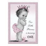 "Cute Vintage Princess 1st Birthday Party 5"" X 7"" Invitation Card"