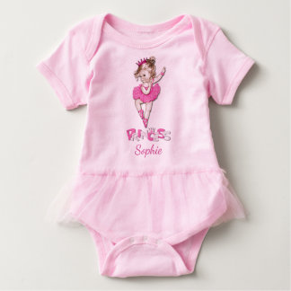 Cute Vintage Princess Baby Ballerina Personalized Baby Bodysuit