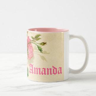 cute vintage roses,names mug