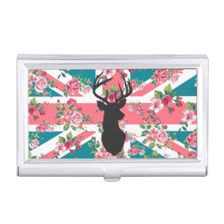 Cute vintage roses U.K. Union Jack Flag deer head Business Card Case