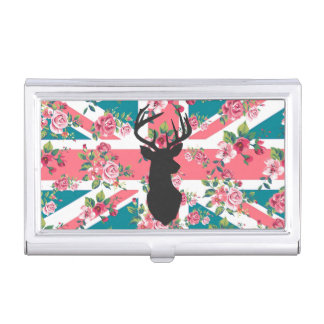 Cute vintage roses U.K. Union Jack Flag deer head Business Card Holder