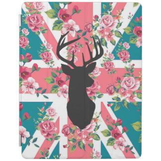 Cute vintage roses U.K. Union Jack Flag deer head iPad Cover