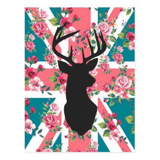 Cute vintage roses U.K. Union Jack Flag deer head Postcard