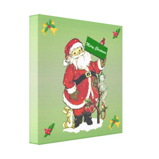 Cute Vintage Santa Claus Animals Merry Christmas Stretched Canvas Print