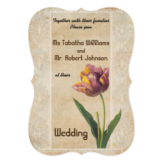 Cute Vintage Style Flower Wedding Invitation