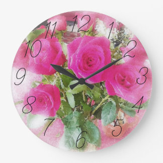 Cute Vintage Style Roses Bouquet Large Clock