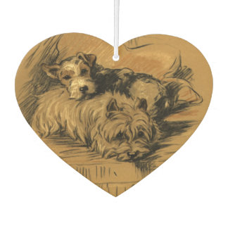 Cute Vintage Terrier Pups, Puppy Dogs, Old Fashion Air Freshener