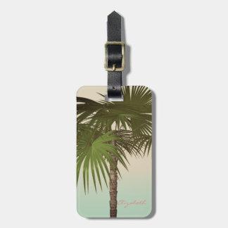 Cute Vintage Tropical, Palm Tree Luggage Tag