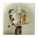 Cute Vintage Victorian Cats Kittens Playing, Ceramic Tiles