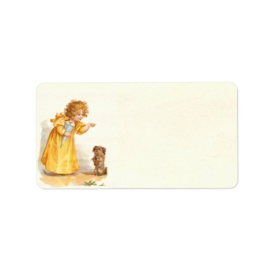 Cute Vintage Victorian Girl with Puppy Brundage
