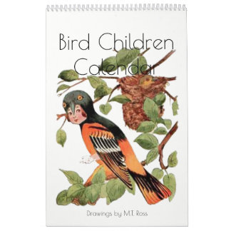 Cute Vintage Watercolor Drawings Bird Children 2 Wall Calendar