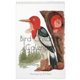 Cute Vintage Watercolor Drawings Bird Children 6 Wall Calendar
