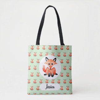 Cute Vintage Watercolor Woodland Baby Fox & Name Tote Bag