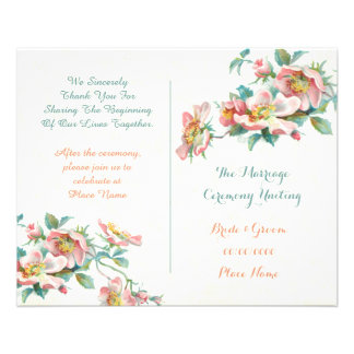 cute vintage wedding program full color flyer