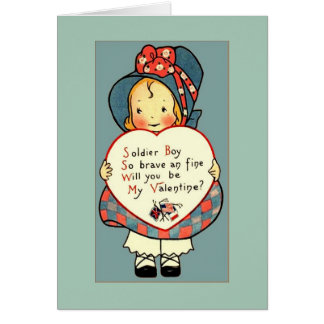 Cute Vintage WWI Valentine Greeting for Soldier Card