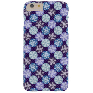 Cute Violet and Blue Snowflakes Winter Pattern Barely There iPhone 6 Plus Case