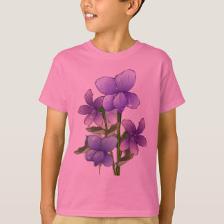 Cute violet flowers art print  T-Shirt