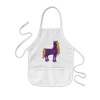 Cute Violet Magic Horse Fantasy Illustration Kids Apron