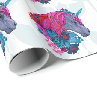 Cute Violet Magic Unicorn Fantasy Illustration