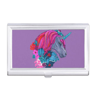 Cute Violet Magic Unicorn Fantasy Illustration Business Card Holder