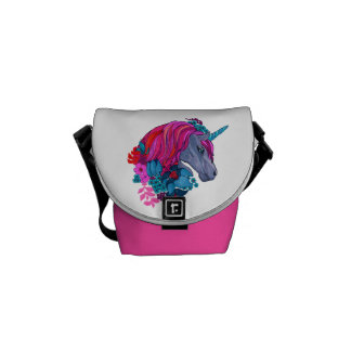 Cute Violet Magic Unicorn Fantasy Illustration Commuter Bag