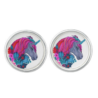 Cute Violet Magic Unicorn Fantasy Illustration Cufflinks