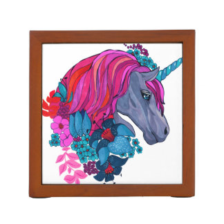 Cute Violet Magic Unicorn Fantasy Illustration Desk Organizer