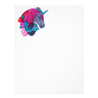 Cute Violet Magic Unicorn Fantasy Illustration Letterhead