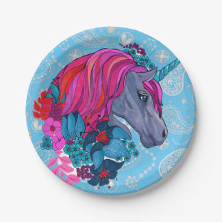 Cute Violet Magic Unicorn Fantasy Illustration Paper Plate