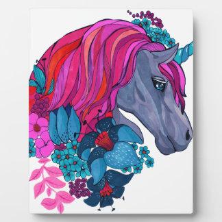 Cute Violet Magic Unicorn Fantasy Illustration Plaque