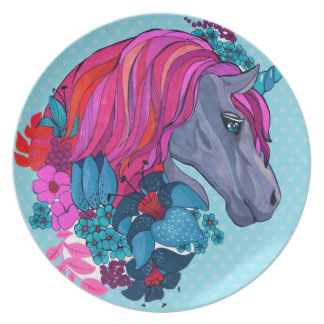 Cute Violet Magic Unicorn Fantasy Illustration Plate