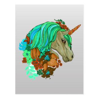 Cute Violet Magic Unicorn Fantasy Illustration Postcard