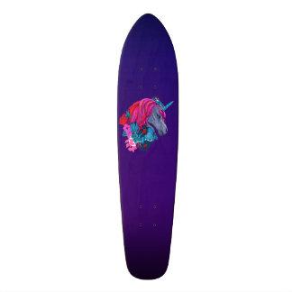 Cute Violet Magic Unicorn Fantasy Illustration Skateboard