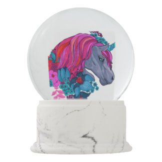 Cute Violet Magic Unicorn Fantasy Illustration Snow Globe