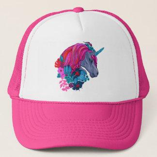 Cute Violet Magic Unicorn Fantasy Illustration Trucker Hat