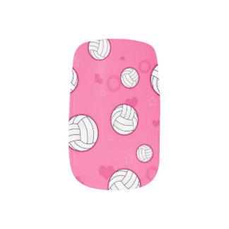 Cute Volleyball Pattern Pink Fingernail Decals