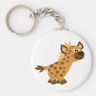 Cute Walking Cartoon Hyena Basic Round Button Keychain