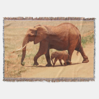 Cute Walking Elephants Photo Throw Blanket
