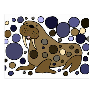 Cute Walrus Abstract Art Design Postcard
