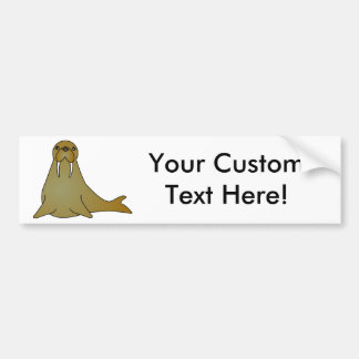 Cute Walrus Cartoon Bumper Sticker