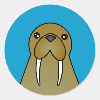 Cute Walrus Cartoon Classic Round Sticker