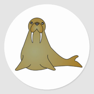 Cute Walrus Cartoon Round Sticker