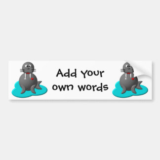 Cute walrus in water bumper sticker
