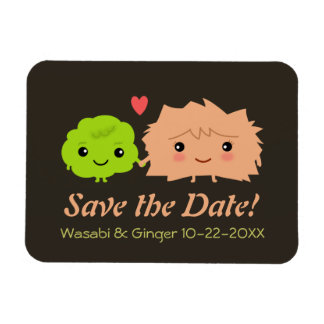Cute Wasabi and Ginger Wedding Save the Date Magnet