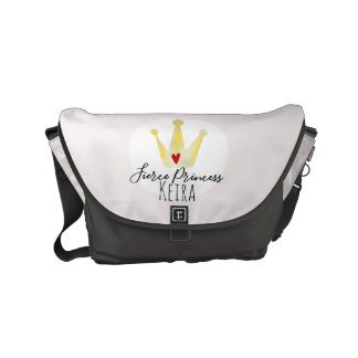 Cute Watercolor Baby Girl Princess & Name Diaper Messenger Bag