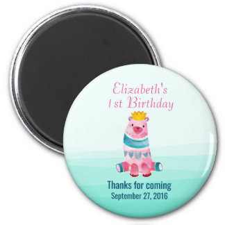 Cute Watercolor Bear Birthday Thank You Magnet