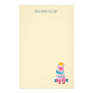 Cute Watercolor Bear Have a Beary Nice Day Stationery Paper