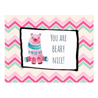 Cute Watercolor Bear on a Heart Pattern Thank You Postcard