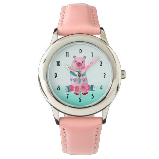 Cute Watercolor Bear on Aqua Green Ombre Backing Watch